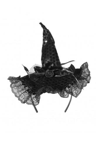 Tiara Chapéu de Bruxa Luxo Halloween - Preto - NaMega Festas b66b800d0b5