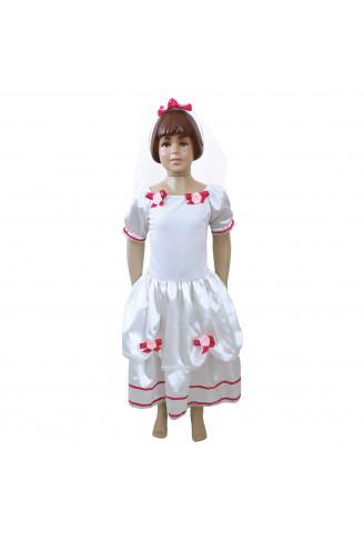 Vestido Noiva Com Véu Infantil Namega Festas